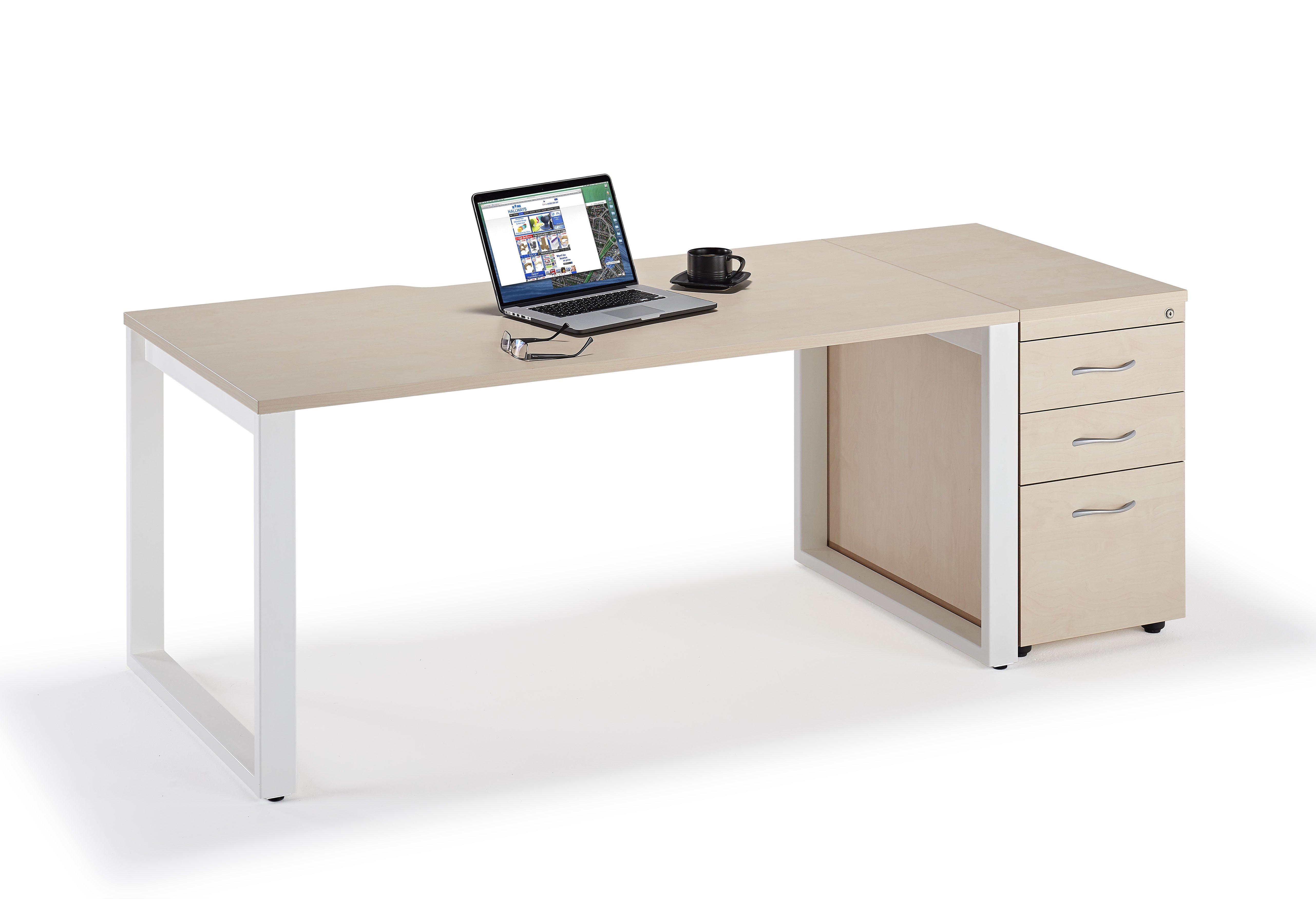 next day maple executive bench desk with box legs and desk