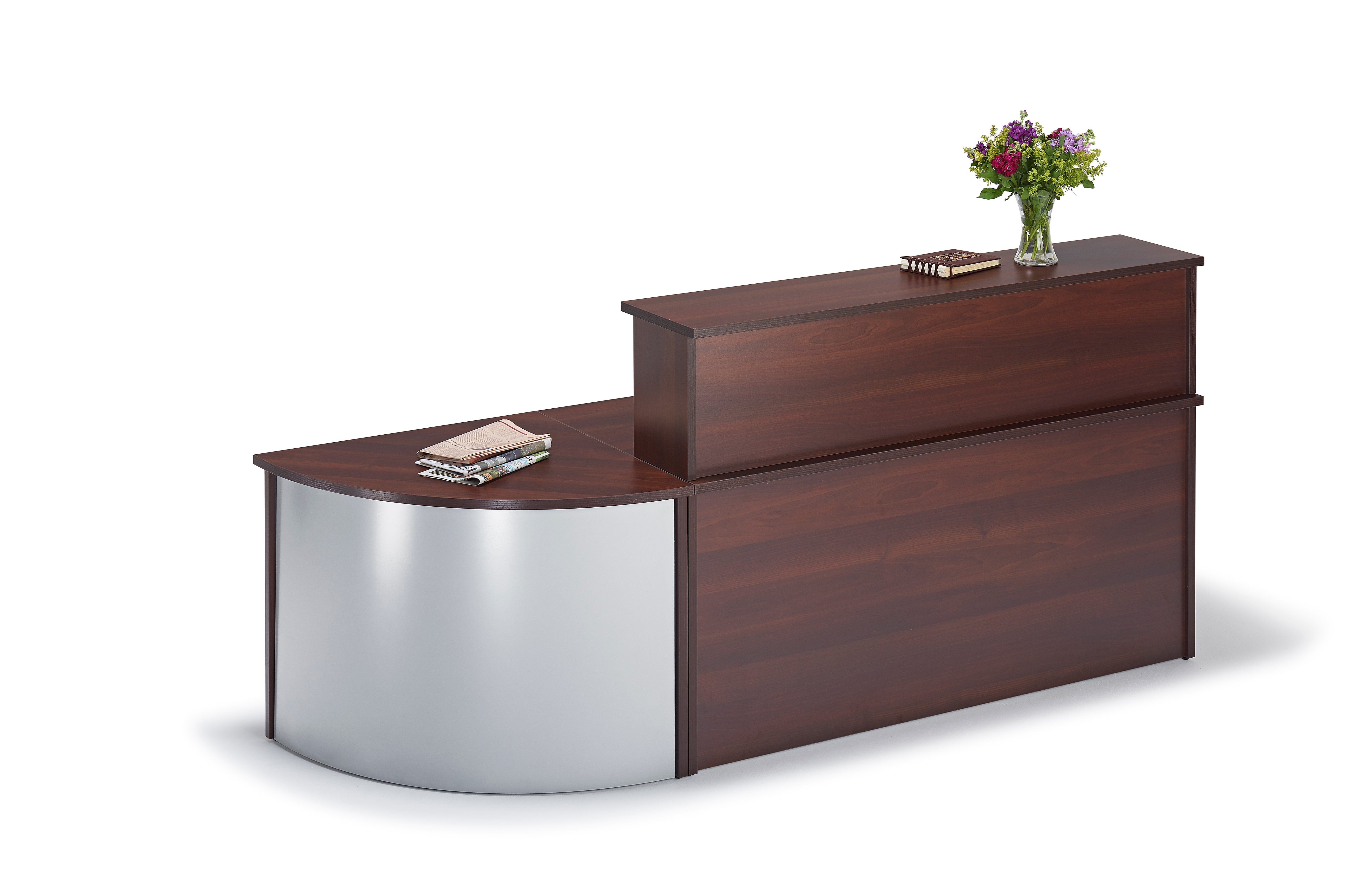 Next Day Straight Walnut Reception Desk With Curved Unit