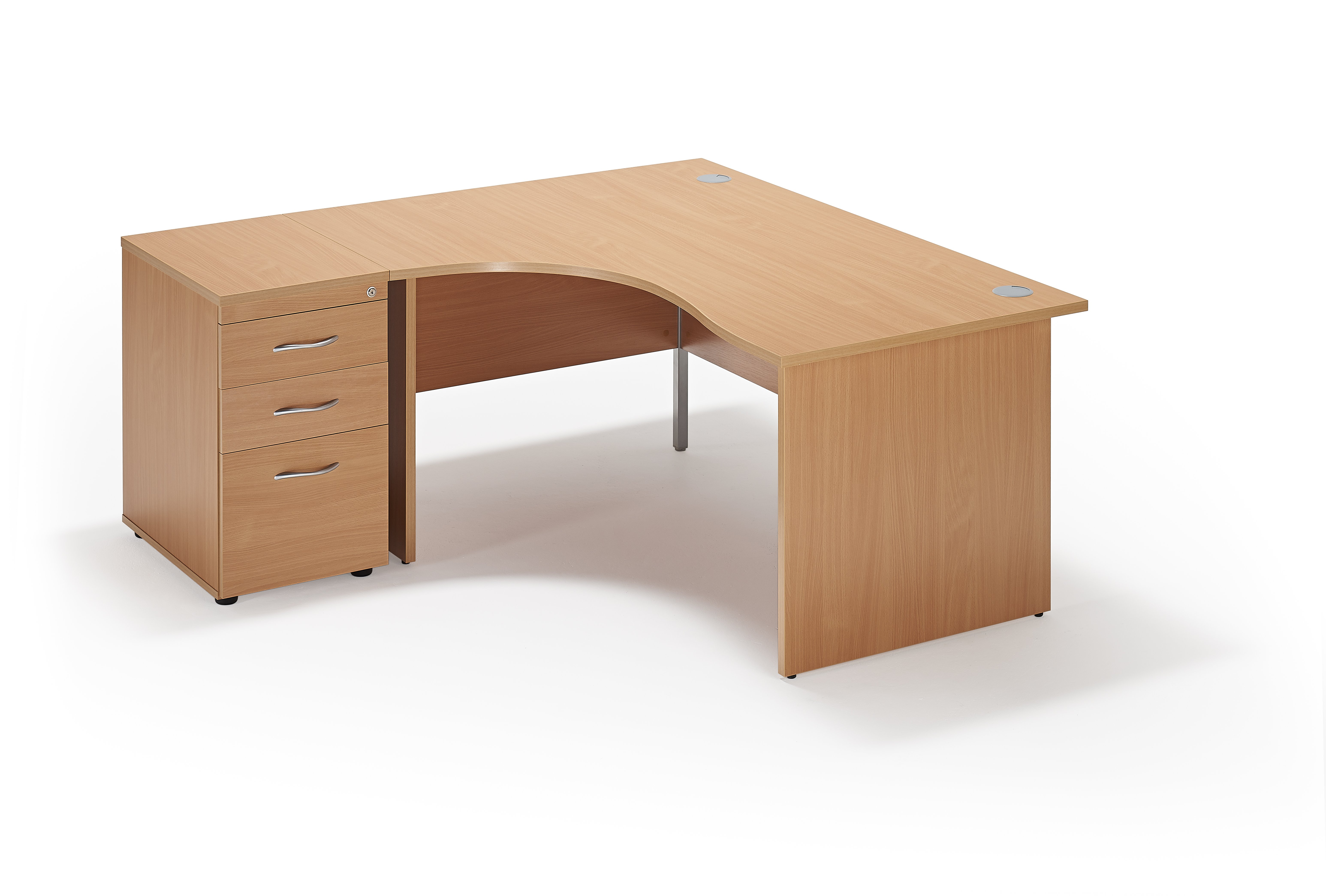 curved executive workstation with a 600mm deep desk high