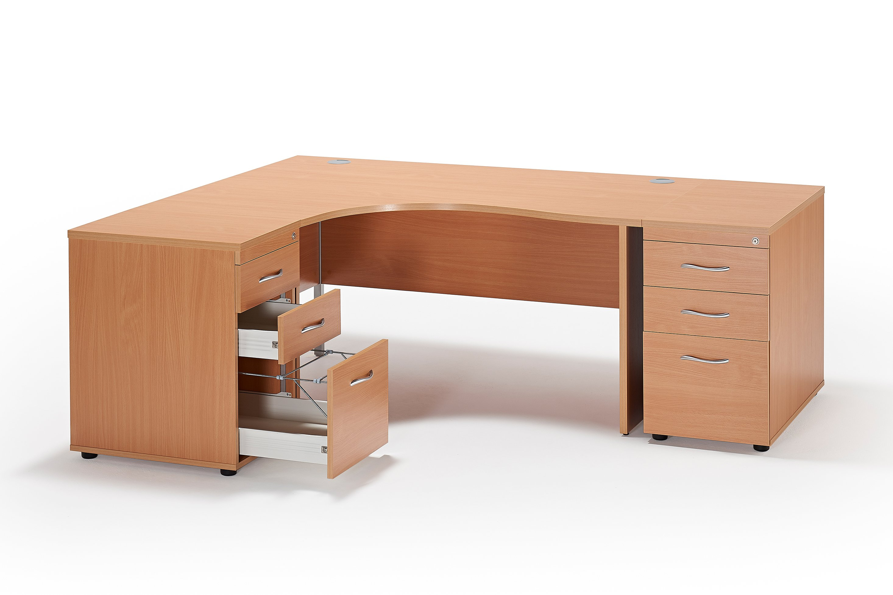 next day curved beech panel leg office desk and 2 desk high pedestals