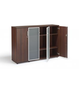 Walnut Office Cupboard With Glass Doors