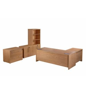 Crown Oak Desk, Pedestals, Side Filing Cabinet, Low Cupboard And Tall Cupboard