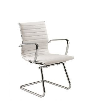 Second Hand White Charles Eames Inspired Leather Boardroom Chair