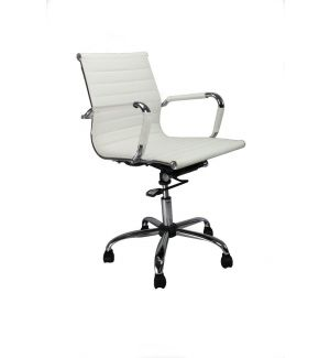 Clearance Charles Eames Inspired White Mid Back Swivel Chair