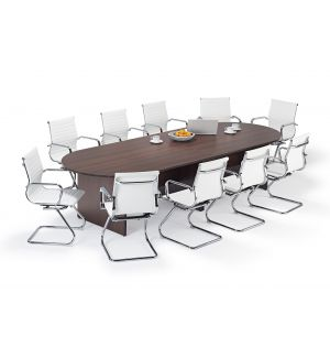 Walnut Executive Modular Boardroom Table and White Charles Eames Style Leather Boardroom Chairs Bundle
