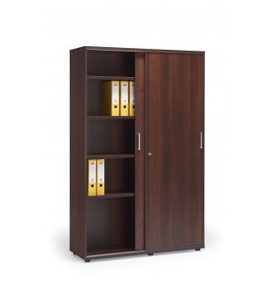 Walnut Office Cupboard with Sliding Doors