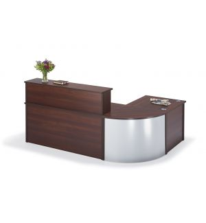 Curved Walnut Reception Desk Bundle