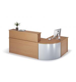 Curved Beech Reception Desk Bundle