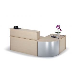 Curved Maple Reception Desk Bundle