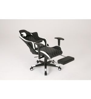Deluxe Black And White Reclining Gaming Chair With Retractable Foot Rest