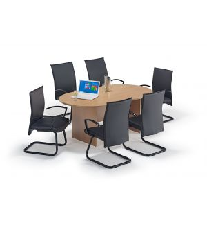 Beech Executive Boardroom Table and Modern Cantilever Chairs Bundle