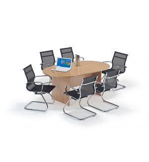 Beech Executive Boardroom Table and Mesh Cantilever Bundle