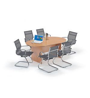 Beech Executive Boardroom Table and Grey Mesh Cantilever Bundle