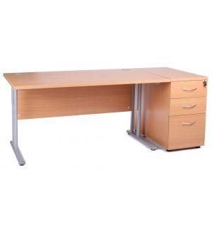 Beech Cantilever Office Desk with Desk High Pedestal