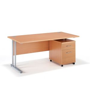 Straight Beech Cantilever Office Desk with Mobile Pedestal - Two Drawer Pedestal