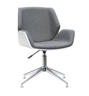 Designer Tub Chair in Grey Fabric with White Shell