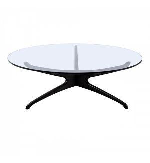 Retro Style Circular Glass Coffee Table