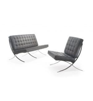 Miles Van Der Rohe Inspired Barcelona Black Leather Reception Seating Ex Showroom Model
