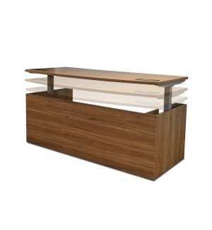American Walnut Bow Fronted Height Adjustable Desk