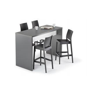 40mm Thick Graphite Grey and White Tall Canteen Dining Table
