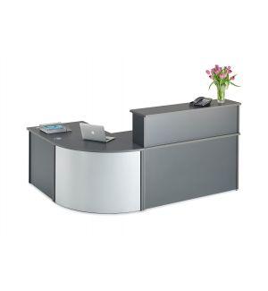 Curved Graphite Grey Reception Desk Bundle