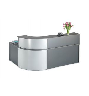 Curved Graphite Grey Reception Desk with Curved Counter Top Bundle