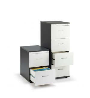Graphite Grey and White Office Filing Cabinets