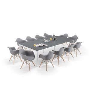 Graphite Grey Executive Bench Style Tables and Grey Charles Eames Inspired DAW Bundle (12 Chairs)