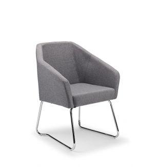 London Modern Grey Tub Chair With Skid Frame