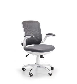 Ex Display Deluxe Air Mesh Grey Swivel Chair with White Frame