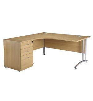 Light Oak Curved Cantilever Desk and 600mm Deep Desk High Pedestal