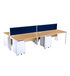 Light Oak Bench Desk Pod With Blue Screens And White Pedestals