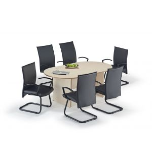 Maple Executive Boardroom Table and Black Modern Cantilever Chairs Bundle