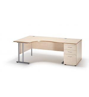 Curved Maple Cantilever Office Desk and 800mm Deep Desk High Pedestal