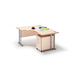 Left Hand Curved Desk with Two Drawer Pedestal