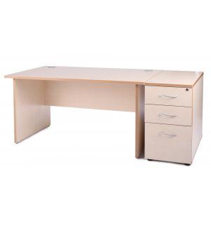 Maple Panel End Office Desk with Desk High Pedestal Bundle