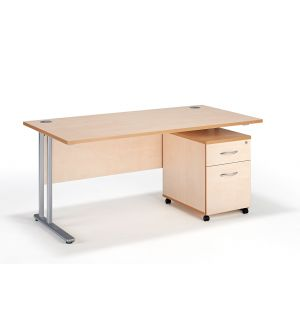 Straight Maple Cantilever Office Desk with Two Drawer Pedestal