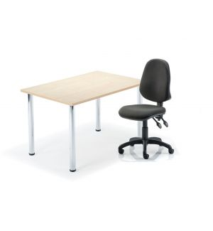 Reduced To Clear Maple Table On Chrome Legs With Swivel Office Chair Bundle