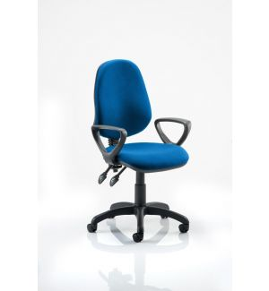 Office Swivel Operator Chair with Arms (Van) - Blue