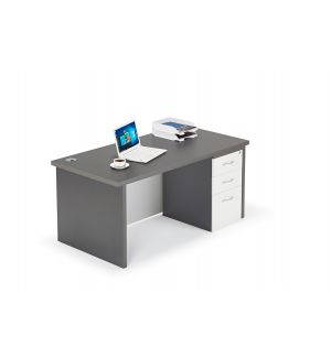 Premium Graphite Grey Straight Office Desk, with Full Modesty Panel and Desk High Pedestal