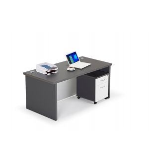 Premium Graphite Grey Executive Estate Agents Desk, with Full Modesty Panel and Mobile Pedestal