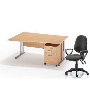 Left Hand Wave Desk With Black Chair