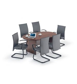 Walnut Executive Boardroom Table, Grey Modern Cantilever Chairs Bundle