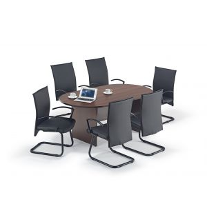 Walnut Executive Boardroom Table and Modern Cantilever Chairs Bundle