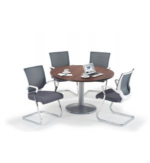 Walnut Circular Office Table And Trumpet Base With Grey And White Cantilever Chairs Bundle