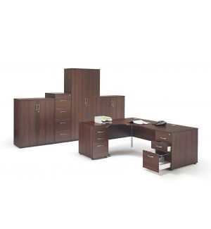 Walnut Office Furniture Suite 1 With Pedestals