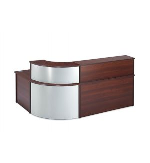 Curved Walnut Reception Desk with Curved Counter Top