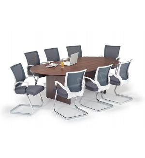 Walnut Executive Boardroom Table With Grey And White Chairs Bundle