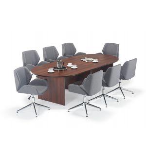 Walnut Executive Modular Boardroom Table & Grey Boss Design Kruze Inspired Chair Bundle
