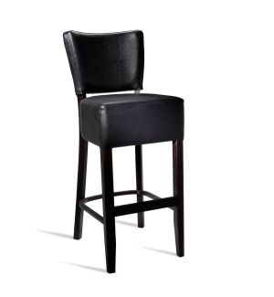 Black Faux Leather Stool
